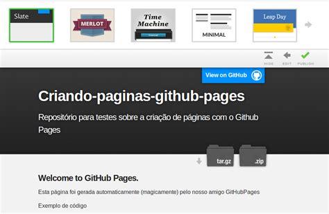 github pages templates criando p 225 ginas web para seus reposit 243 rios o github pages artigos sobre html javascript