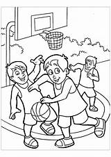 Basketball Coloring Pages Playing Children Sport Drawing Sports Nba Street Sheets Getdrawings Coloriage sketch template