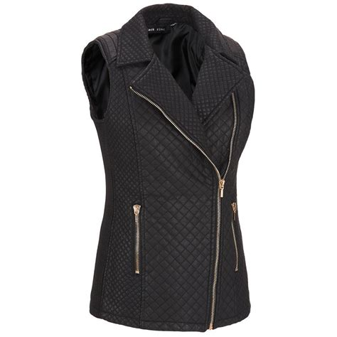 womens quilted vest black rivet womens quilted asymmetric faux leather vest ebay