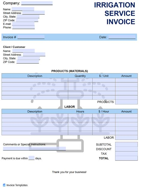 irrigation service invoice template  word excel