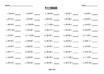 9 nine multiplication times tables drill mental maths