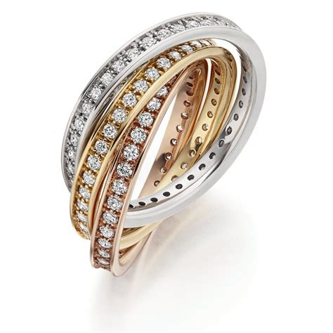 the raphael collection 18ct multi gold 1 50ct diamond channel russian wedding ring the