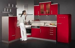 Idee couleur cuisine la cuisine rouge et grise for Idee deco cuisine avec meuble de cuisine rouge et gris