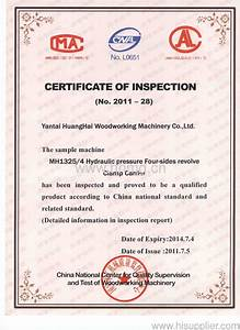 CERTIFICATE INSPECTION - HUANGHAI WOODWORKING MACHINERY CO