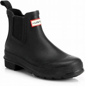 Hunter Original Short Slip-on Rubber Boots in Black