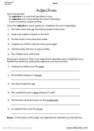 16 best images of printable adjective worksheets 4th grade