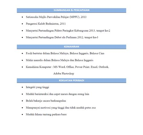 Contoh Format Resume Fresh Graduate by Fuhh October 2014