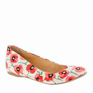 Jew Cece Printed Ballet Flats in Floral neon persimmon