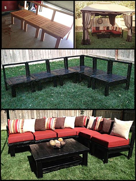 diy patio furniture  husband   sectional sofa