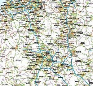 Central England County Road And Rail Map With Regular