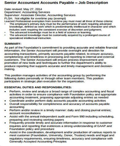 sample senior accountant job descriptions  ms