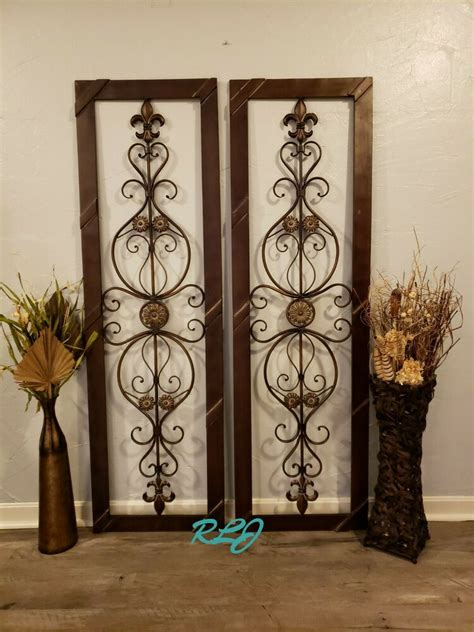 antique vintage french victorian brown wood metal scroll wall art panel plaque ebay