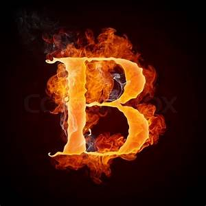 Fire Letter B Isolated on Black Background | Stock Photo ...