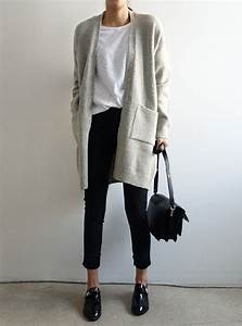 Picture Of dove grey cardigan cropped black jeans a white tee and black shoes for the office