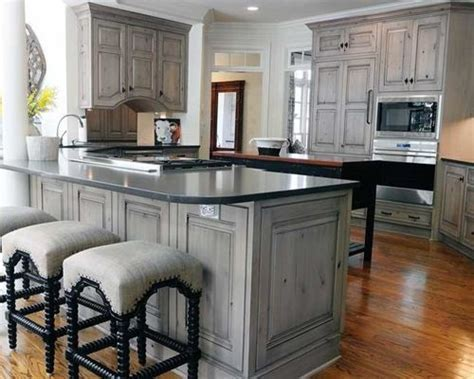 Gray stained (washed) Hickory Cabinets   House   Kitchen