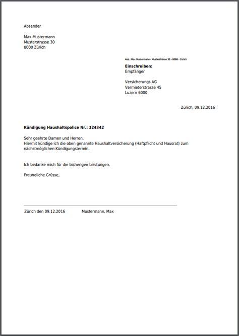 kuendigung fuer haushaltsversicherungen hausrat haftpflicht