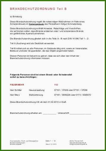 Die brandschutzordnung gliedert sich in drei teile. 52 Sensationell Brandschutzordnung Teil B Vorlage Word Für 2019