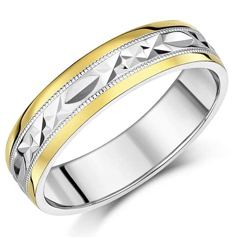 men s silver 9ct yellow gold ring patterned wedding 6mm ring ebay