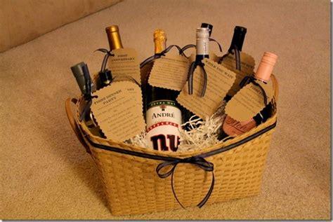 Wine Basket Shower Gift - bridal shower wine basket gift idea with poems