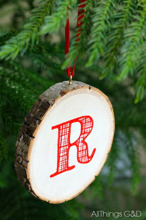 initial ornaments monograms monogrammed wood slice ornament all things g d