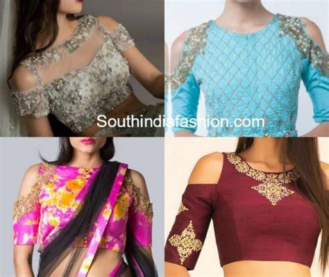 hottest trend cold shoulder saree blouse designs south