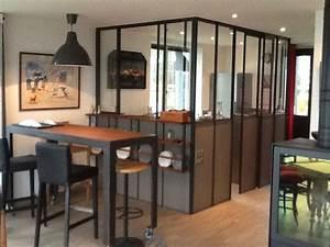 Cuisine verriere avec passe plat ouvrant table bistro ss for Idee deco cuisine avec construire sa cuisine