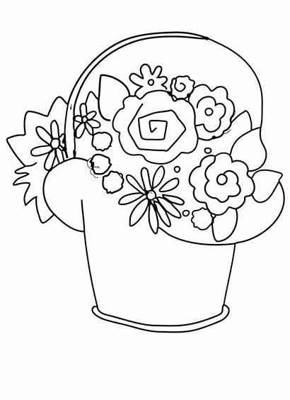 Basket Coloring Flower Flowers Pages Printable Clip