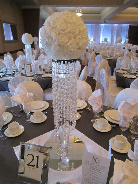 White Sparkle Wedding Bling Centerpieces With White Rose