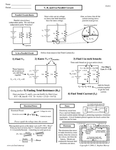 series and parallel circuits worksheet middle school the best worksheets collection