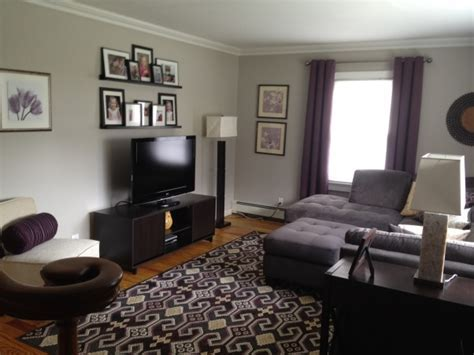 Plum And Grey Living Room