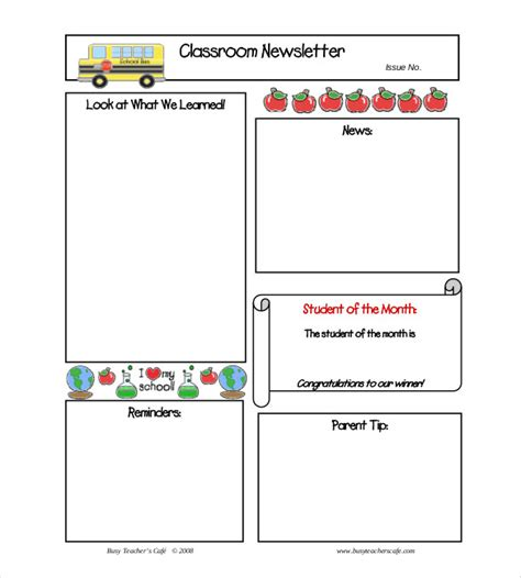 Free Newsletter Templates For Teachers 9 monthly newsletter templates free sle exle