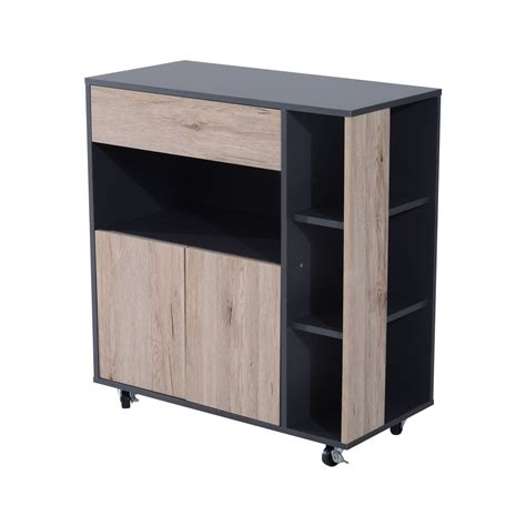Wooden Buffet Cabinet Black Sideboard Glass Kitchen Island