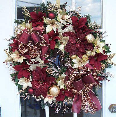 maroon christmas decorations glitter gold burgundy large door decoration wreath x winter