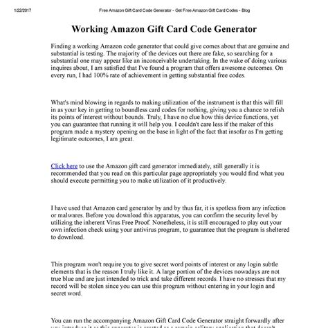 The generator above may not be over the limit, hurry up and try the generator above! Free Amazon Gift Card Code Generator - Get Free Amazon Gift Card Codes - Blog.pdf   DocDroid
