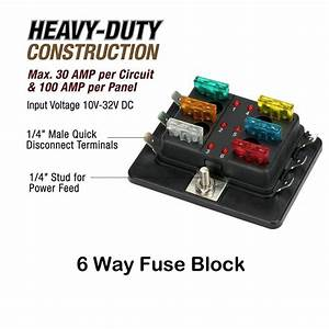 Universal 6 Way Fuse Box Block Fuse Holder Box Car Vehicle