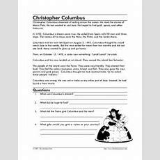 Christopher Columbus Reading Comprehension Worksheet For 2nd  3rd Grade  Lesson Planet