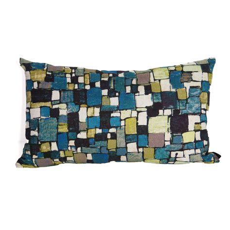 plaid gris canapé coussin rectangulaire bleu rubiscube pour canapé