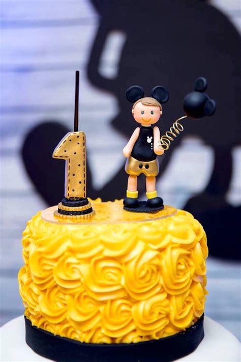karas party ideas yellow gold mickey mouse birthday