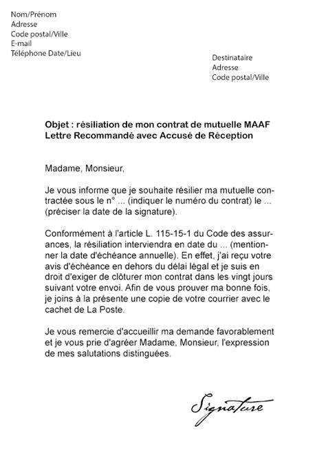modele lettre resiliation assurance prevoyance loi chatel modele resiliation assurance loi chatel document