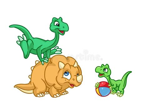 Three Baby Dinosaurs Play Cartoon Stock Illustration