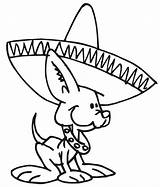 Coloring Mexican Dog Hat Wearing Pages Dogs Fiesta Sombrero Wiener Chihuahua Printable Hats Tin Mexico Cartoon Colorluna Puppy Dance Colors sketch template