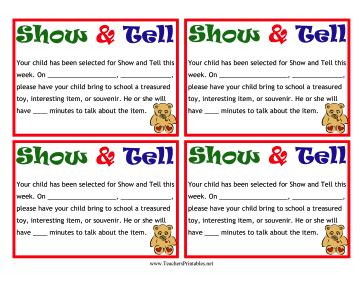 show and tell letter k show and tell notes 61711