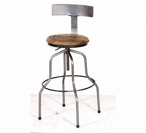 Tabouret De Bar Pin Massif Fer 6949