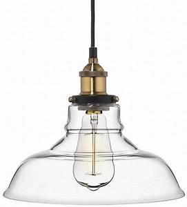 Deneve clear glass shade pendant light brass ceiling