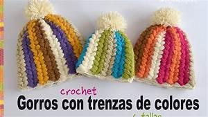 Crochet En S : crochet gorro con trenzas de colores a crochet en todas ~ Nature-et-papiers.com Idées de Décoration