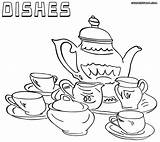 Dishes Coloring Pages Tea Printable Colorings Sheet Getcolorings Awesome Template sketch template