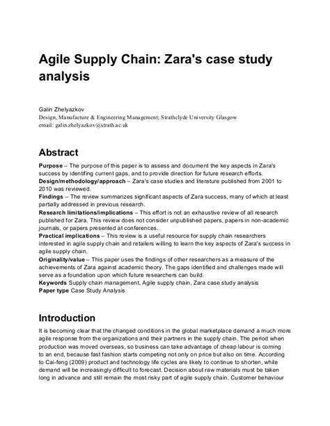 Agile Supply Chain Zara Case Study