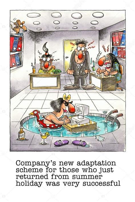Vignette Divertenti Ufficio Divertente Fumetto Sulla Vita Di Ufficio Foto Stock