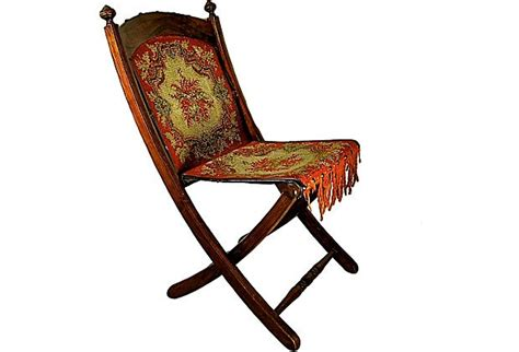 e w vaill carpet upholstered folding chair on
