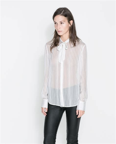 zara blouse zara silk blouse with bow in white white lyst